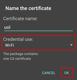 Credential certificate - select Wi-Fi