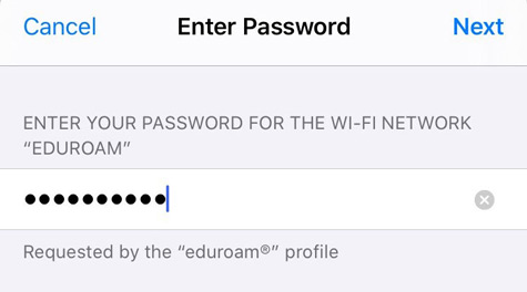 Enter password and tap next